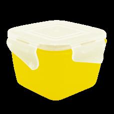 """Контейнер универсальный квадратный """"Фиеста"""" 0,9 л (тёмно-жёлтый/прозрачный) Алеана 168052"""