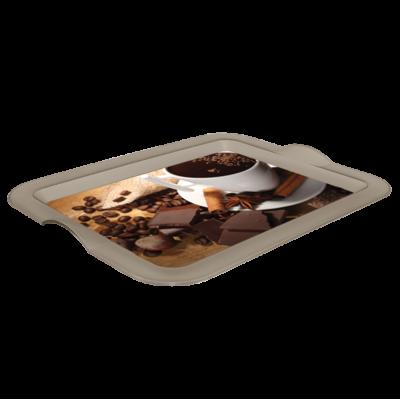 Поднос прямоугольный с декором (Кава) 46*36*4 см Алеана 167056