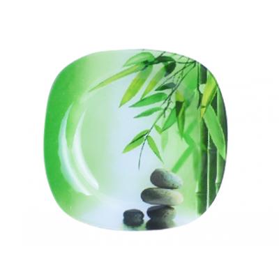 Тарелка квадратная 20 см Зеленый бамбук SnT 3715