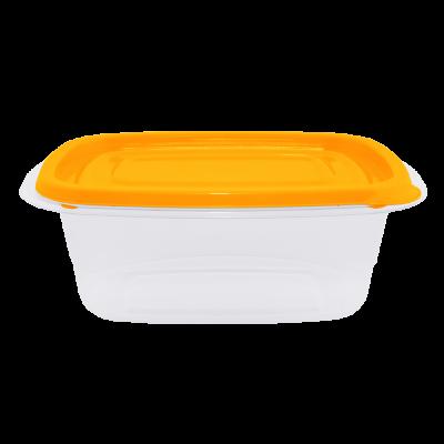 """Контейнер для пищевых продуктов """"Омега"""" прямоугольный 0,7 л (оранжевый/прозрачный) Алеана 167026"""