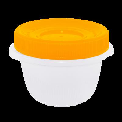 """Контейнер для пищевых продуктов """"Омега"""" круглый с закручивающейся крышкой 0,285 л (оранжевый прозрачный) Алеана 167036"""