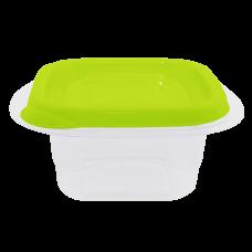 """Контейнер для пищевых продуктов """"Омега"""" квадратный 0,45 л (оливковый/прозрачный) Алеана 168010"""