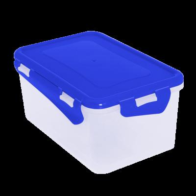 Контейнер для пищевых продуктов прямоугольный с зажимом 1,5 л (голубой прозрачный) Алеана 167042