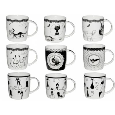 "Чашка ""Кошки"" черно-белая 2183"