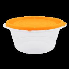 """Контейнер для пищевых продуктов """"Омега"""" круглый 0,75 л (оранжевый/прозрачный) Алеана 167038"""