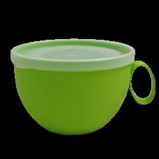 Чашка с крышкой 0,5 л (оливковый/прозрачный) Алеана 168006