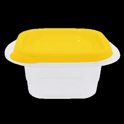 """Контейнер для пищевых продуктов """"Омега"""" квадратный 2,1 л (тёмно-жёлтый/прозрачный) Алеана 168012"""