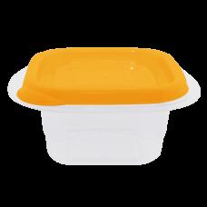 """Контейнер для пищевых продуктов """"Омега"""" квадратный 0,45 л (оранжевый/прозрачный) Алеана 168010"""