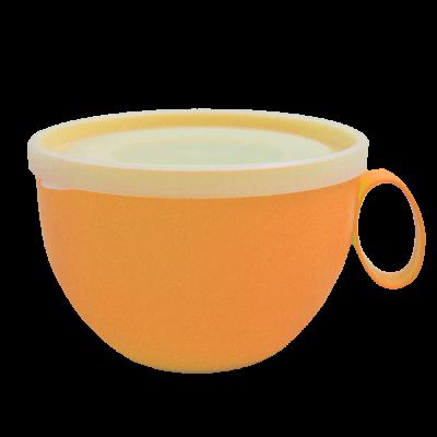 Чашка с крышкой 0,5 л (оранжевый/прозрачный) Алеана 168006