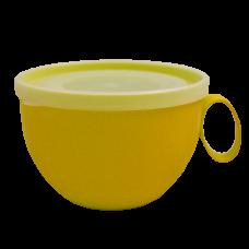 Чашка с крышкой 0,5 л (тёмно-жёлтый/прозрачный) Алеана 168006
