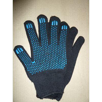Перчатки синтетика черные с ПВХ покрытием