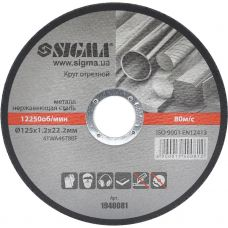 Круг отрезной по металлу Ø125x1.2x22.2 мм, 12250 об/мин Sigma 1940081