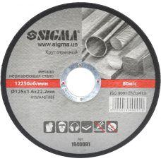 Круг отрезной по металлу Ø125x1.6x22.2 мм, 12250 об/мин Sigma 1940091
