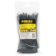 Хомут нейлоновый 3,6*150 мм 100 шт, чёрный Sigma 2502121