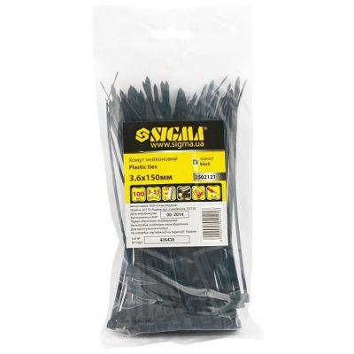 Хомут нейлоновый 3,6*200 мм 100 шт, чёрный Sigma 2502131