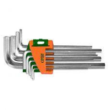Ключи шестигранные 1,5-10 мм, 9 шт CrV (короткие) Grad 4022075
