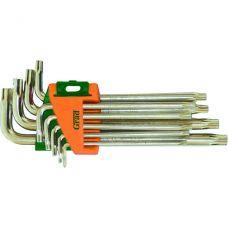 Ключи Torx 9 шт T10-T50 мм CrV (короткие с отверстием) Grad 4022275