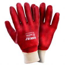 Перчатки трикотажные с ПВХ покрытием (красные манжет) Sigma 9444361