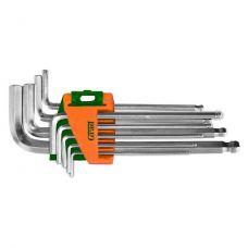Ключи шестигранные 9 шт 1,5-10 мм CrV (короткие, шар) Grad 4022175