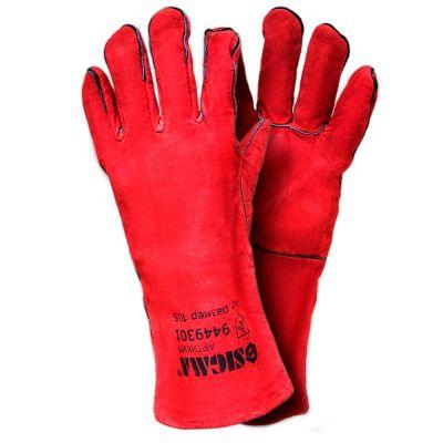Перчатки краги сварщика 35 см (красные) Sigma 9449301