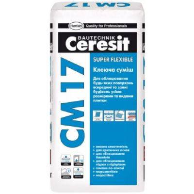 Клей для плитки Ceresit CM 17 Super flexible 25кг